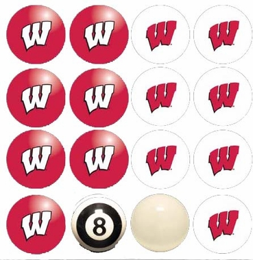 Wisconsin Home and Away Complete Billiard Ball Set