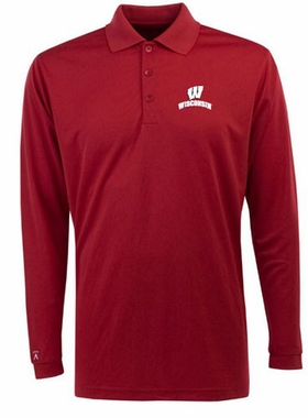 Wisconsin Mens Long Sleeve Polo Shirt (Team Color: Red)