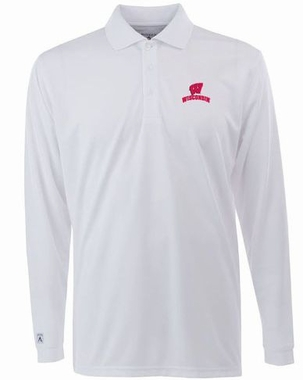 Wisconsin Mens Long Sleeve Polo Shirt (Color: White)