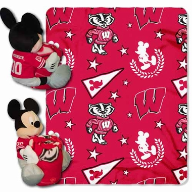 Wisconsin Mickey Mouse Pillow / Throw Combo