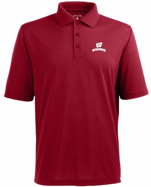 Wisconsin Mens Pique Xtra Lite Polo Shirt (Team Color: Red)