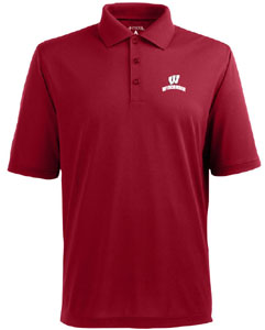 Wisconsin Mens Pique Xtra Lite Polo Shirt (Color: Red) - Medium