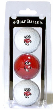 Wisconsin Set of 3 Multicolor Golf Balls
