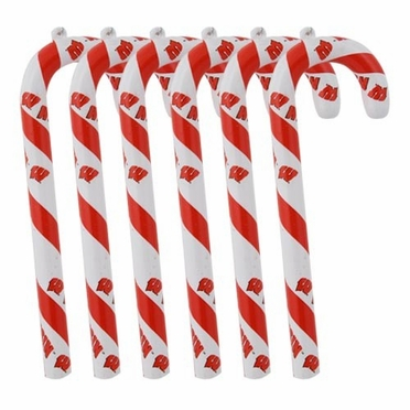 Wisconsin Set of 6 Candy Cane Ornaments