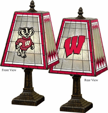 Wisconsin Small Art Glass Lamp
