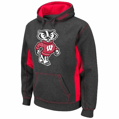 Wisconsin Turf Red Pullover Hooded Sweatshirt (Charcoal)