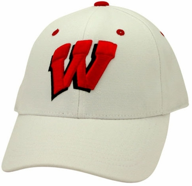 Wisconsin White Premium FlexFit Baseball Hat