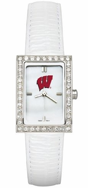 Wisconsin Women's White Leather Strap Allure Watch