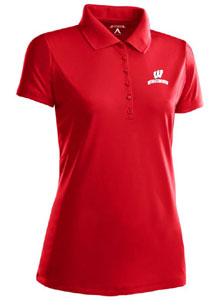 Wisconsin Womens Pique Xtra Lite Polo Shirt (Color: Red) - Large