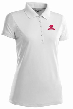 Wisconsin Womens Pique Xtra Lite Polo Shirt (Color: White)