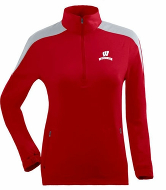 Wisconsin Womens Succeed 1/4 Zip Performance Pullover (Team Color: Red)