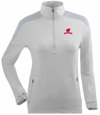 Wisconsin Womens Succeed 1/4 Zip Performance Pullover (Color: White)