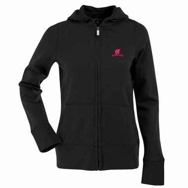 Wisconsin Womens Zip Front Hoody Sweatshirt (Alternate Color: Black)