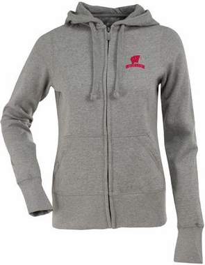 Wisconsin Womens Zip Front Hoody Sweatshirt (Color: Gray)