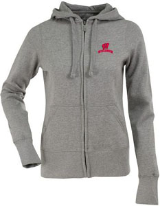 Wisconsin Womens Zip Front Hoody Sweatshirt (Color: Gray) - Small