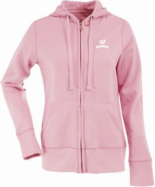 Wisconsin Womens Zip Front Hoody Sweatshirt (Color: Pink)