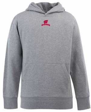 Wisconsin YOUTH Boys Signature Hooded Sweatshirt (Color: Gray)