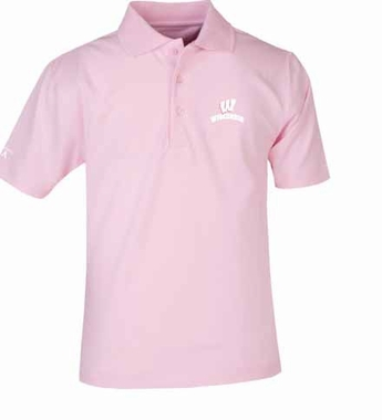 Wisconsin YOUTH Unisex Pique Polo Shirt (Color: Pink)