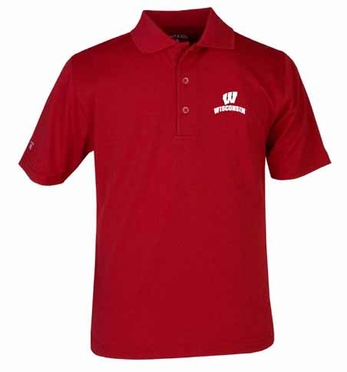 Wisconsin YOUTH Unisex Pique Polo Shirt (Team Color: Red)