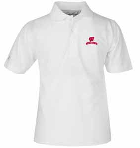 Wisconsin YOUTH Unisex Pique Polo Shirt (Color: White) - Medium