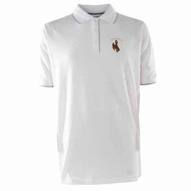 Wyoming Mens Elite Polo Shirt (Color: White)