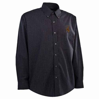 Wyoming Mens Esteem Check Pattern Button Down Dress Shirt (Team Color: Black)