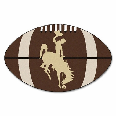 Wyoming Football Shaped Rug