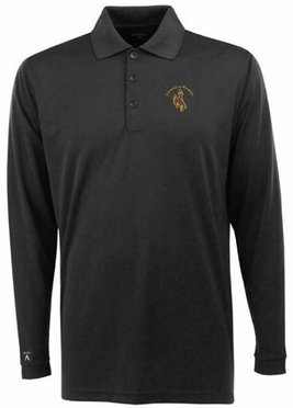 Wyoming Mens Long Sleeve Polo Shirt (Team Color: Black)