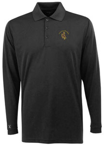 Wyoming Mens Long Sleeve Polo Shirt (Team Color: Black) - Medium