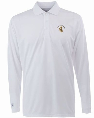 Wyoming Mens Long Sleeve Polo Shirt (Color: White)