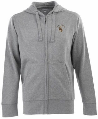 Wyoming Mens Signature Full Zip Hooded Sweatshirt (Color: Gray)