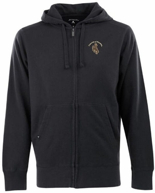 Wyoming Mens Signature Full Zip Hooded Sweatshirt (Team Color: Black)