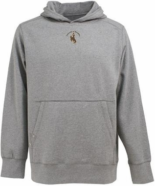 Wyoming Mens Signature Hooded Sweatshirt (Color: Gray)
