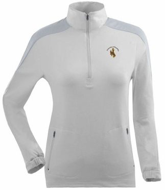 Wyoming Womens Succeed 1/4 Zip Performance Pullover (Color: White)
