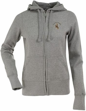 Wyoming Womens Zip Front Hoody Sweatshirt (Color: Gray)