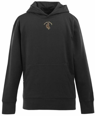 Wyoming YOUTH Boys Signature Hooded Sweatshirt (Team Color: Black)