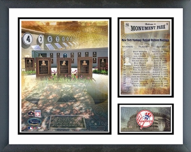 Yankees Monument Park - Retired Yankees Uniform Numbers- Framed Milestones & Memories