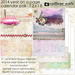 2014 Year on a Page 12x18 Calendar