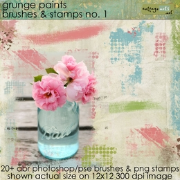 Grunge Paints 1 Brush & Stamp Set