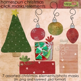 Homespun Christmas Click.Masks /Elements
