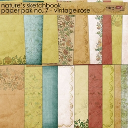Nature's Sketchbook 7 Paper Pak - Vintage Rose