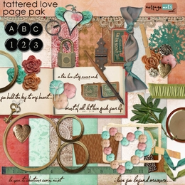 Tattered Love Page Pak w/Alpha
