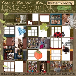 Year in Review - Boy 12x12 Album Pak - Shutterfly Ready