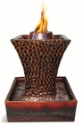 "12""H Brown Concave Flame Fountain Firepot by Pacific Decor"