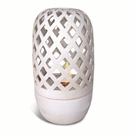 "18""H CREAM WHITE Flame Dome Hurricane Fire Pot by Pacific Decor"