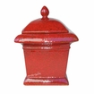 "8"" Square Ruby Red Milano Flamepot of Firepot by Pacific Decor"