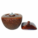 "9""D X 6""H Brown Round/Square Flamepot of Firepot by Pacific Decor"