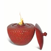 "9""D X 6""H Red Round/Square Flamepot of Firepot by Pacific Decor"