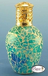 Athens Blue Crackle Mosaic Fragrance Lamp by Courtneys
