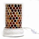 BROWN ROUND MOSAIC Aromatique Table Top Fragrance Warmer - Wax Melter